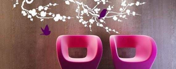 Дърво с лилави птици Птиците са символ на мисъл, в